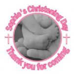 Personalised Pink Photo Girl Christening Sticker
